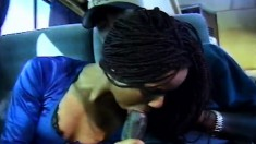 Alluring ebony girl has a black guy hammering her tight ass in the bus