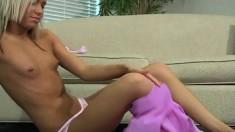 Sexy slim blonde cutie Kacey Jordan shows off her delicious cameltoe