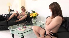 Stacked mature ladies Sonia and Alex please themselves with a sex toy