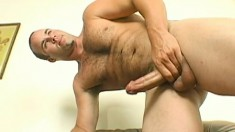 Delightful stud greases up his large prick and drives it to pleasure