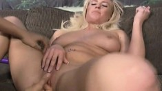 Sexy Slender Blonde With Big Boobs Victoria White Releases Her Juices