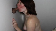 Sensual brunette girl with a hot ass takes a few gloryhole creampies