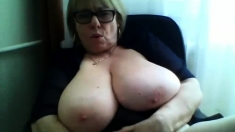 Monster Boobs Gilf Teases On Webcam
