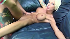 Rikki Six, a gorgeous slender blonde with huge tits, gets fucked deep on the couch