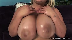 Chubby blonde Kacey gets her huge tits oiled up and slurps his cock