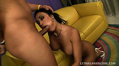 Distinctive cougar with big tits tongues her man's butt hole and fucks his hard dick