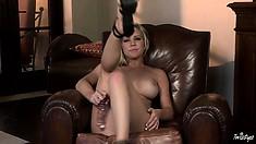 Taking off her polka dot bikini and finding her dildo gives her great pleasure