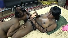 FIne black bitches go wild on each other with their strap-on dildos