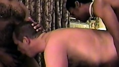 Young black fucker enjoys drilling his white friend's hairy ass