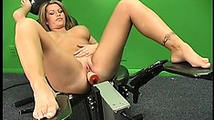 Sultry MILF with big silicone boobies conducts an experiment with the sybian