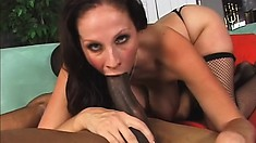 Nasty ass cum guzzling slut gets a black cock and cum in every hole