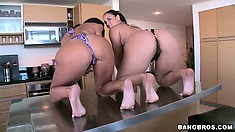 Ava and Miss Raquel play naked in the water and go in to pose