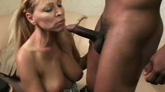 Big black dick gives naughty mommy Nicole Moore a huge cumshot