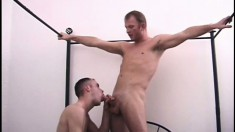 Nasty hunky men get to work on each other's hot dicks and tight butts