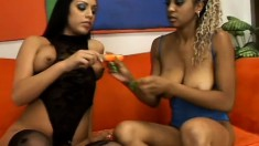 Some beautiful black ladies rub each other's clits until they cum